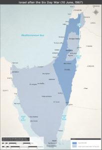 Israels grænser efter 6-dagskrigen 1967