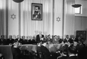 David Ben Gurion oplæser Israels uafhængighedserklæring 1948.