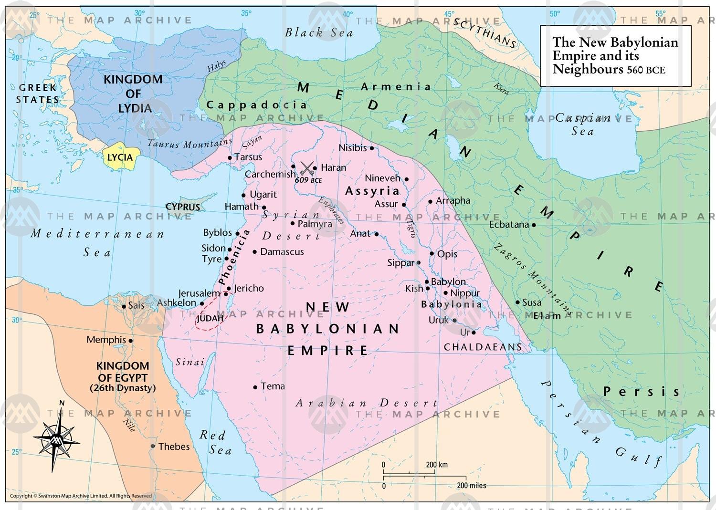Det Babyloniske Imperium og nabolande 560 f.v.t. - Israel - ung og ældgammel. Israel Info