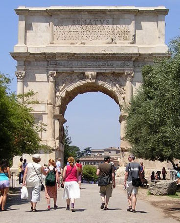 Titus-buen i Rom til minde om Titus´ sejr i år 70. Israel - ung og ældgammel. Israel-Info