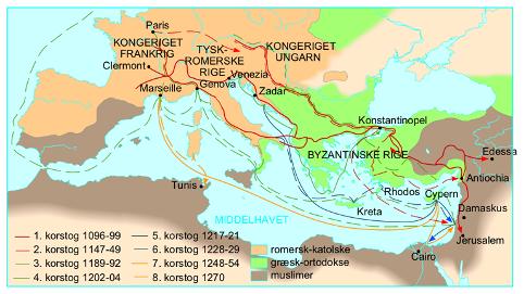 Kort over de 8 korstog til Det hellige Land. Israel-Info