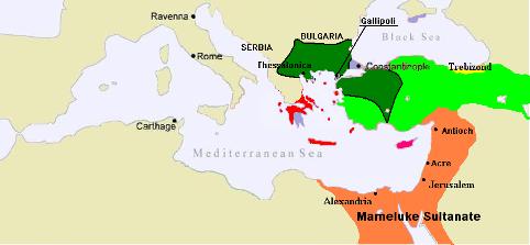Det orange område viser Mameluk-sultanatet under Burji-dynastiet omkring 1389. Israel ung og ældgammel. Israel-Info