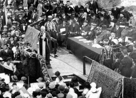 Lord Balfour åbner Det hebraiske Universitet på Scopus Bjerget i 1925. Israel ung og ældgammel. Israel-Info