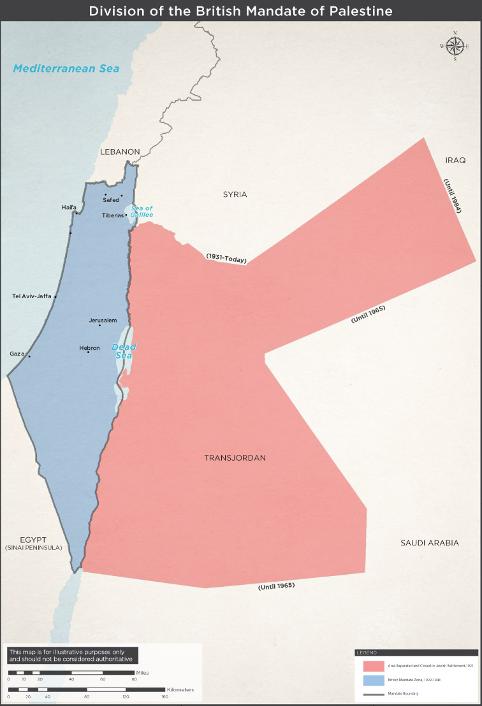 Deling af det britiske mandat i Palæstina 1920. Israel - ung og ældgammel. Israel-Info