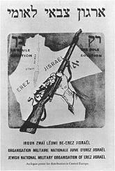 Irguns plakat viser klart, at man ikke accepterede delingen af Erez Israel. Israel ung og ældgammel. Israel-Info