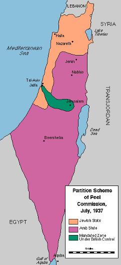 Lord Peels plan til deling af Palæstina 1937. Israel ung og ældgammel. Israel-Info