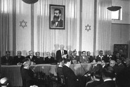 David Ben-Gurion proklamerer Staten Israel 14. maj 1948. Israel ung og ældgammel. Israel-Info
