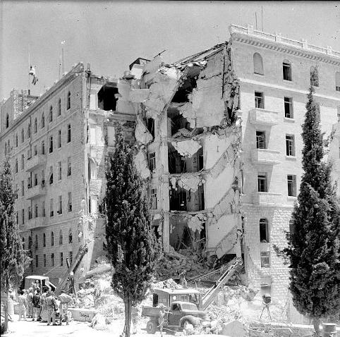 Hotel King David efter Irguns angreb i juli 1946. Israel ung og ældgammel. Israel-Info
