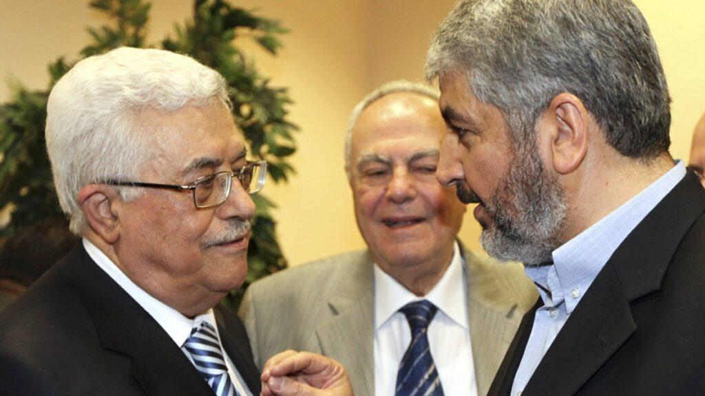 Præsident Mahmoud Abbas og leder Hamas politiskebureau Ismail Haniyeh. Israel-Info.
