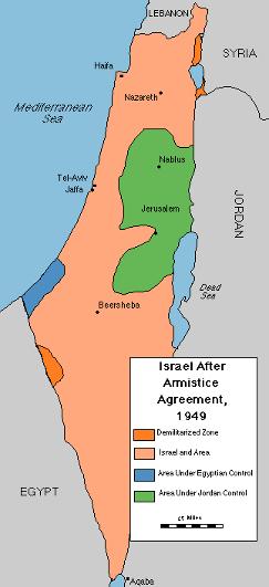 Kort over Israel efter våbenstilstandsaftalen 1949. Israel ung og ældgammel. Israel Info