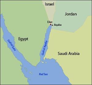 Akababugten med den israelske havneby Eilat.