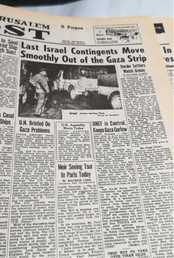 Jerusalem Post kan 8.marts 1957 fortælle, at de sidste israelske tropper har forladt Gaza-striben