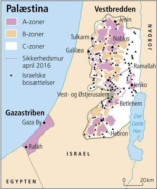 Kort over Vestbredden indelt i tre zoner A,B og C