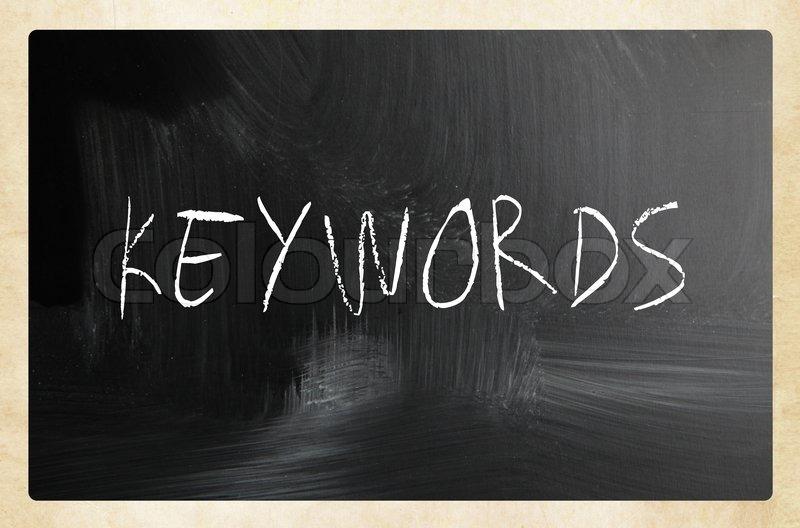 Sort skoletavle med teksten Keywords